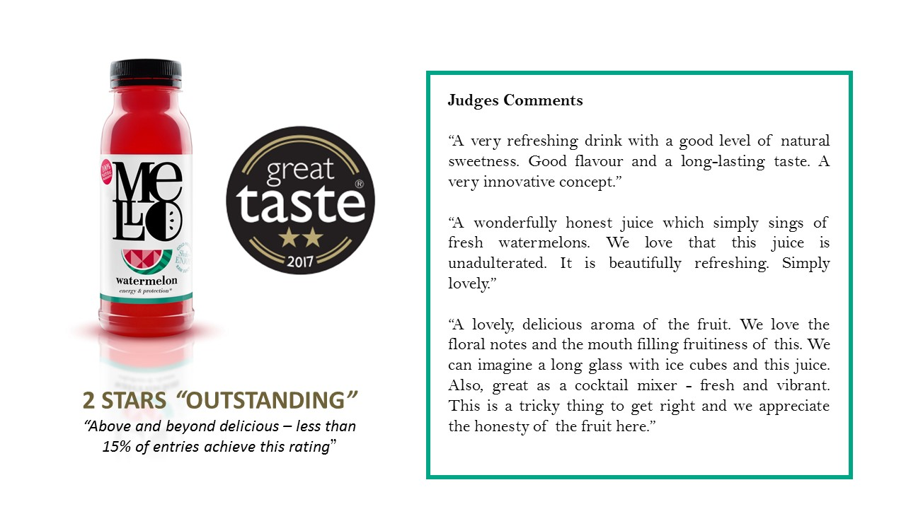 great taste award, winner, watermelon juice